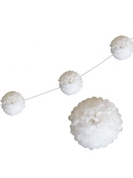 6 fleurs papier de soie 20cm blanc