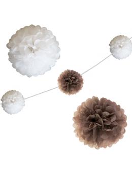 6 fleurs papier de soie 20cm antracite et blanc