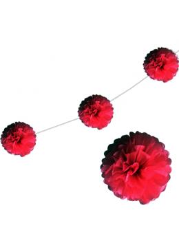 6 fleurs papier de soie 20cm rouge