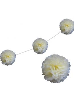 6 fleurs papier de soie 20cm ivoire
