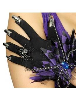 Gants halloween avec ongles noir et violet