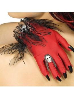 Gants halloween avec ongles rouge et noir