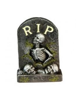 Déco mini pierre tombale résine RIP squelette