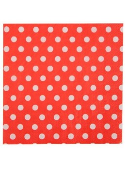 20 Serviettes pois rouge