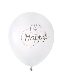 "8 Ballons blanc ""Happy"""