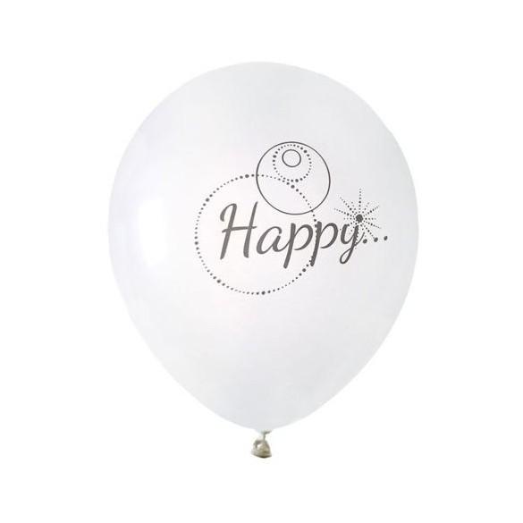 "8 Ballons blanc ""Happy"""