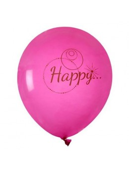 "8 Ballons fuchsia ""Happy"""