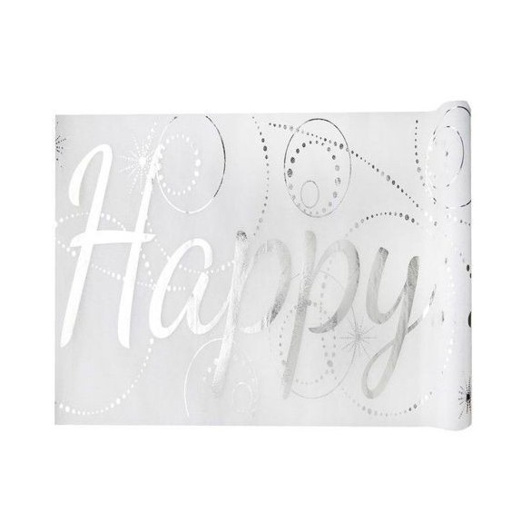 "Chemin de table blanc ""Happy"" 5m"