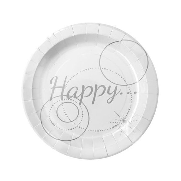 "10 Assiettes carton blanches ""Happy"""