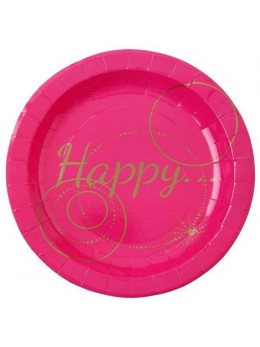 "10 Assiettes carton fuchsia ""Happy"""