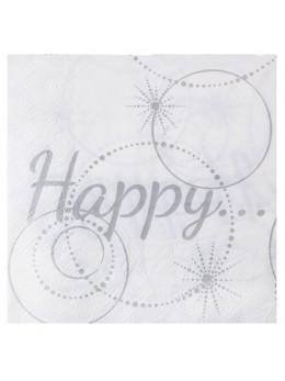 """20 serviettes blanches lunch """"Happy"""""""