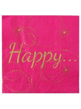"20 serviettes fuchsia lunch ""Happy"""