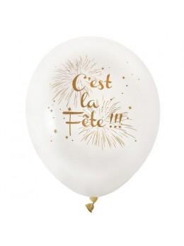 """8 Ballons ivoire """"c'est la fête"""""""