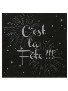 """20 serviettes lunch noir """"c'est la fête"""""""