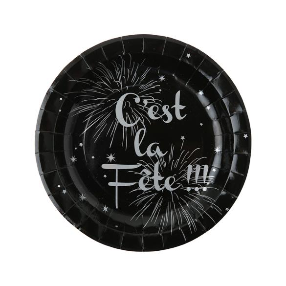 """10 Assiettes noires """"c'est la fête"""""""