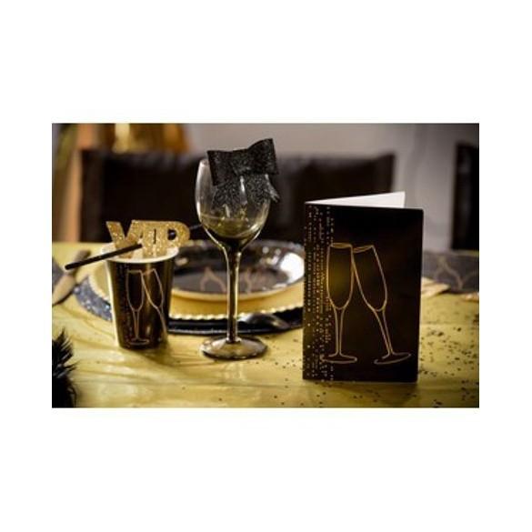 6 cartes champagne noir