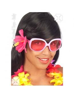 Lunettes hawai rose avec fleur