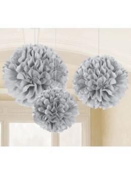 3 Fleurs de soie 40cm gris