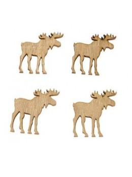 sachet de 12 rennes bois naturel