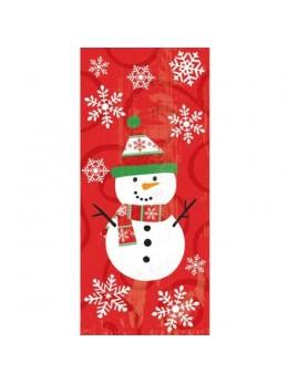 20 sacs cellophane bonhomme de neige