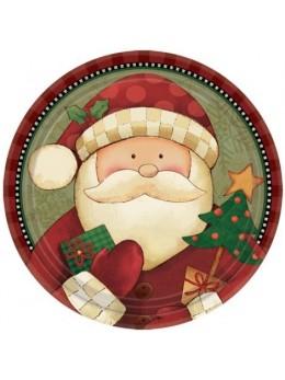 8 Assiettes Santa père Noël