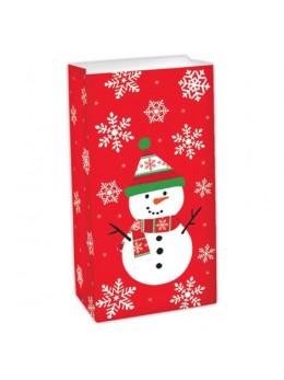 6 Petits sacs cadeau papier bonhomme de neige
