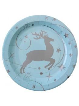 10 assiettes renne bleu ciel et argent
