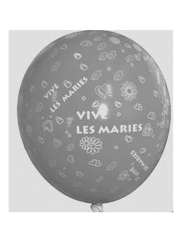 10 Ballons 30cm vive les mariés argent éco