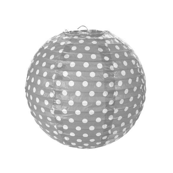 2 Lampions ballons à pois 20cm gris