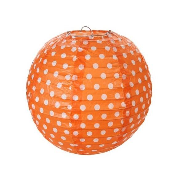 2 Lampions ballons à pois 20cm orange