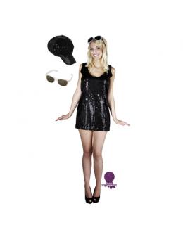 Pack déguisement femme disco noir