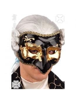 Masque loup vénitien noir et or