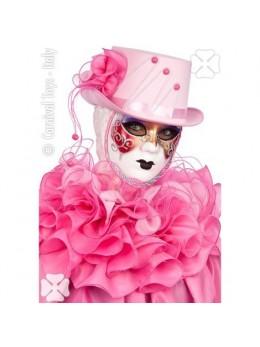 Chapeau cagoule vénitienne avec collerette rose