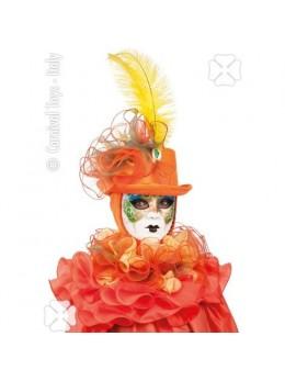 Chapeau cagoule vénitienne avec collerette orange