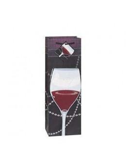 Sac cadeau bouteille verre de vin