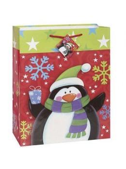 Sac cadeau pingouin et flocons