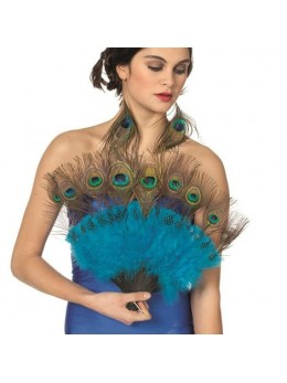 Eventail luxe plumes de Paon
