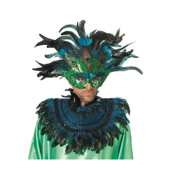Kit déguisement Carnaval plumes turquoise