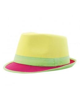 Chapeau Trilby néon jaune