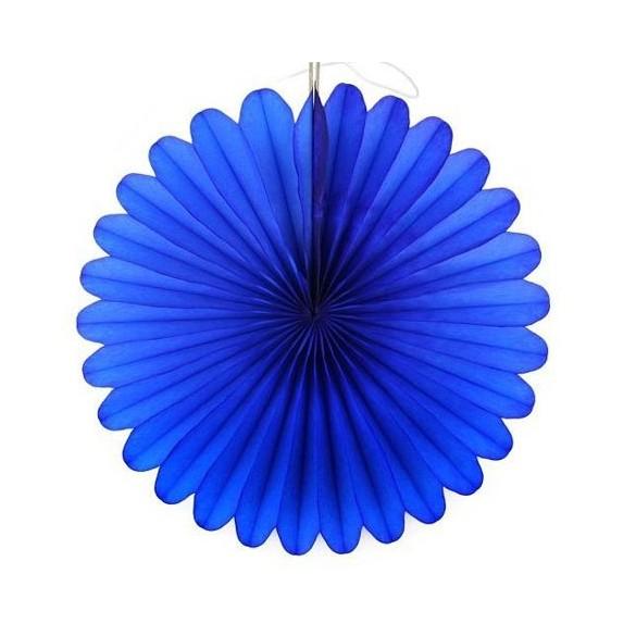 Eventail papier ignifugé bleu roi 50cm