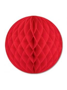 Boule papier ignifugé rouge 25 cm