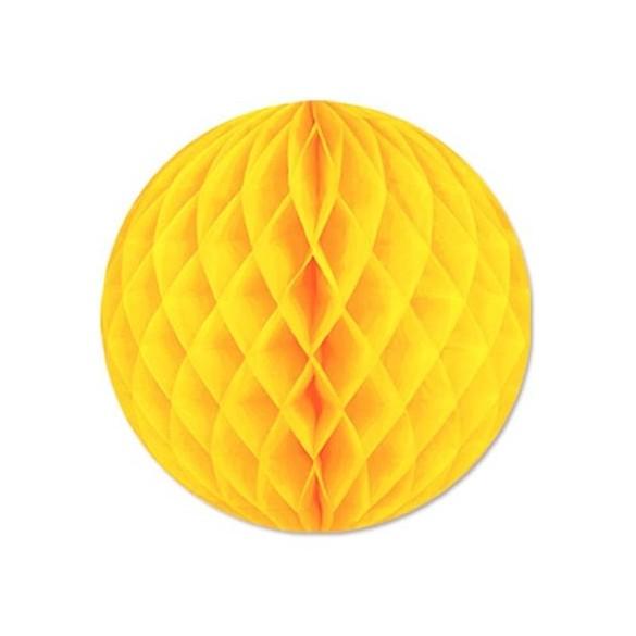 Boule papier ignifugé 25 cm jaune citron