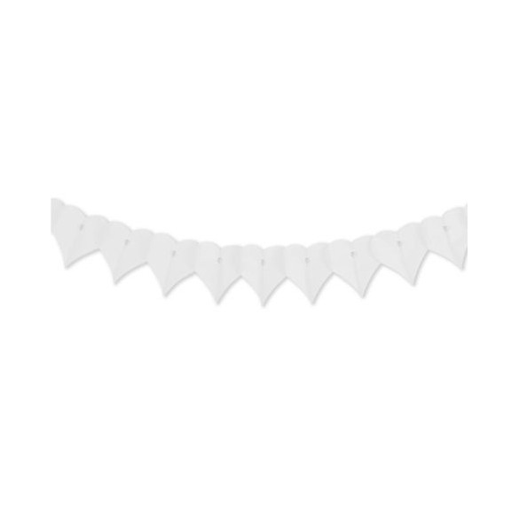 Guirlande papier ignifugé coeur blanc