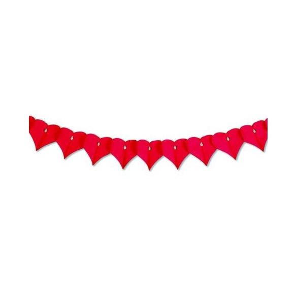 Guirlande papier ignifugé coeur rouge