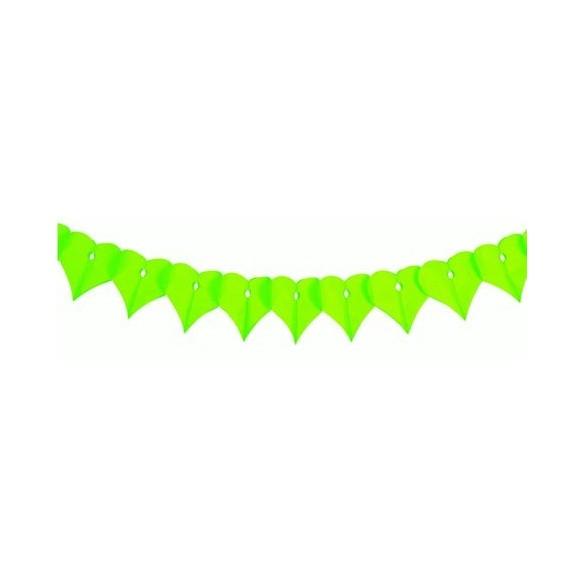 Guirlande papier ignifugé coeur vert anis