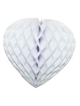 Déco coeur papier ignifugé blanc