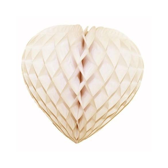 Déco coeur papier ignifugé ivoire