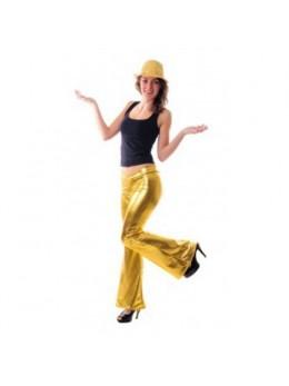 Pantalon disco femme or