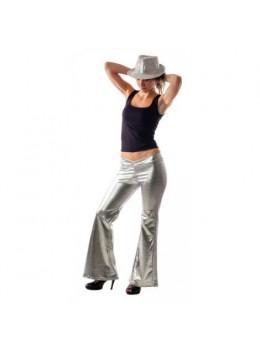 Pantalon disco femme argent