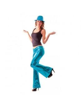 Pantalon disco femme turquoise